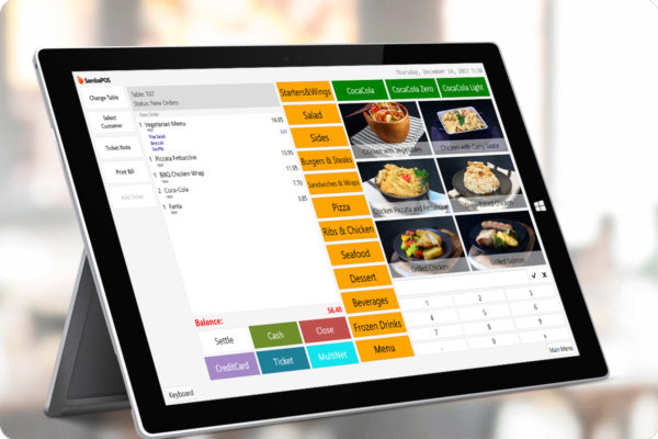 POS Software with the menu items and their prices.